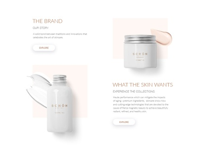 Homepage for Schon Cosmetics Company  minimal simple beige cosmetics nude white web ui clean