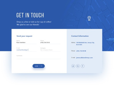 Contact form Monumenta Inc. preview website web map request ui card form contact