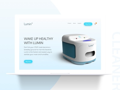 Cleaner Device Homapage health care web landing homepage product light device minimal site clean