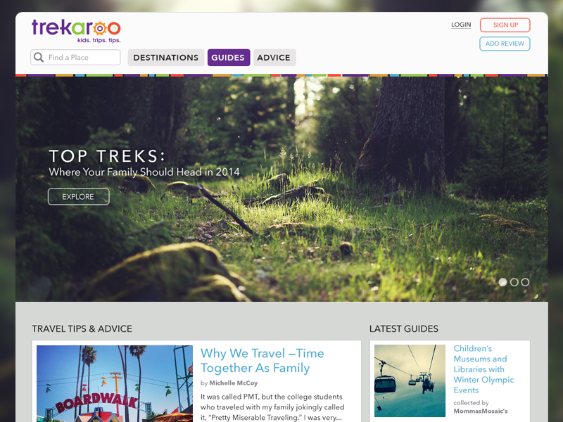 Trekaroo Landing Page website web travel kids hiking forest nature family landing page