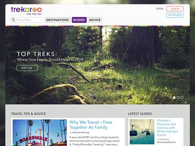 Trekaroo Landing Page website web travel kids hiking forest nature family landing page
