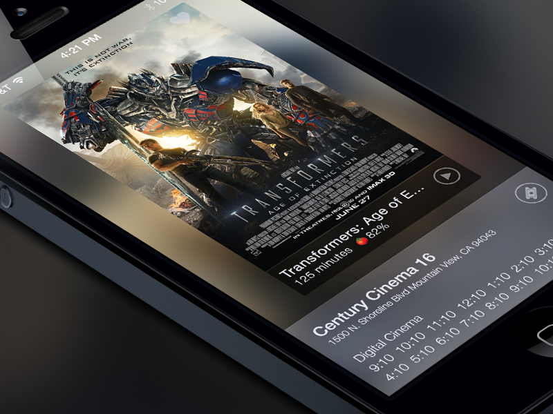Movie Time Finder movie mobile ui ux film hollywood iphone ios layout app entertainment ipad