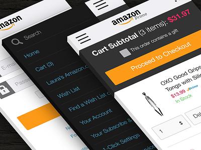 Amazon Mobile Web Checkout Flow Concept mobile web ecommerce checkout ui ux flat shopping