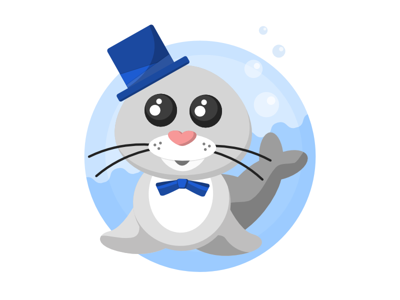 Dapper Seal seal icon illustration affinity designer cute animal water