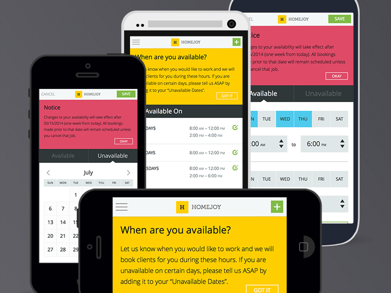 Availability UI Exploration alerts date picker app admin calendar user interface ui mobile