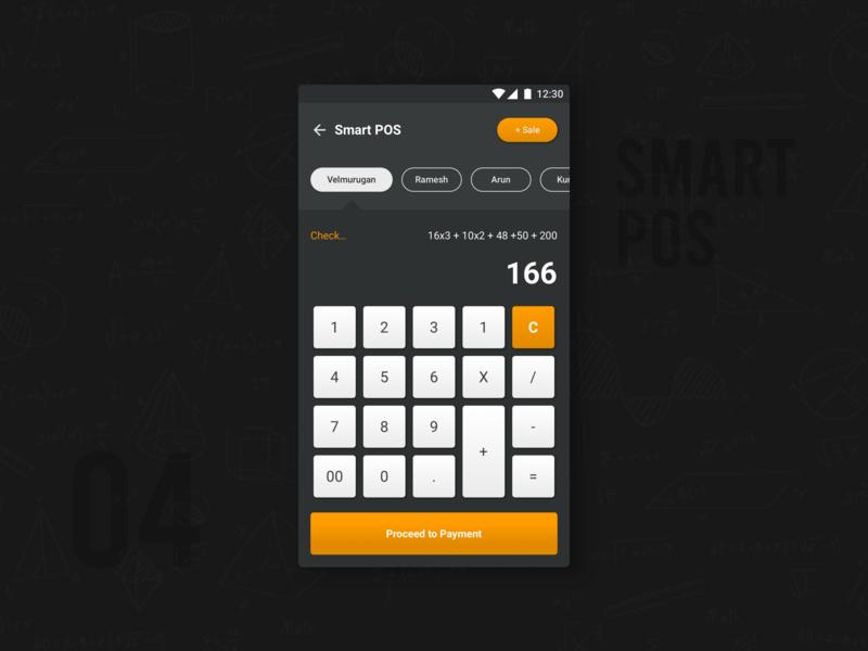 Calculator Cum POS adder smart pos dailyui daily challange interaction design calculator pos