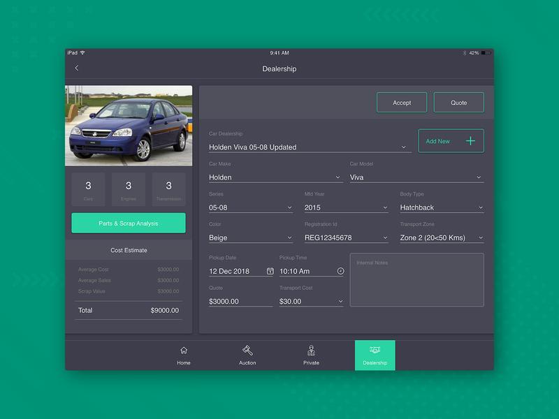 Car Auction - Dealers car auctions form design form tablet app tablet ipad app ipad