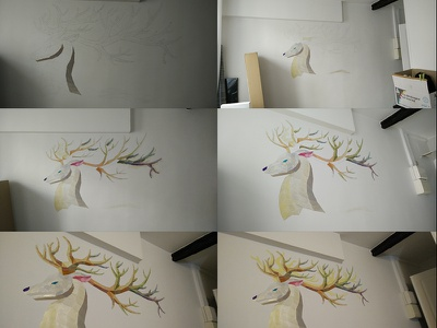 Deer - wall art acrylic 3d low poly deer painting wall art