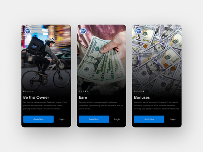 On boarding with images daily adobexd adobe buttons blue money app earth flat minimal clean dark ui delivery riding money onboarding screens picture onboarding screen onboarding ui