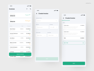 Invoicing App invoices debut green table entry dashboard tracker buisness finance invoice figma flat ux clean adobexd adobe minimal ui challenge daily