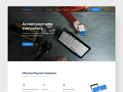 Payfluent Landing Page register figmadesign apple bold hero illustration section processing payment clean branding flat figma adobexd adobe minimal ui challenge daily