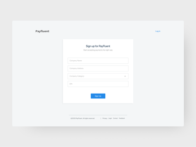 Payfluent Sign Up blue payment app paypal forms sign up signup design branding figmadesign simple clean figma adobexd adobe minimal challenge ui daily