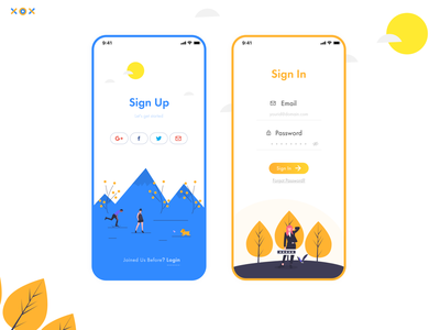 Sign Up, Sign In UI tree dog orange blue login onboarding field form profile email fields create account authorization illustration clean minimal adobexd challenge ui daily
