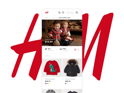 H&M Shopping App product shoping fashion shopper grid search filter children red shopping illustration design branding clean ui minimal challenge adobexd adobe daily