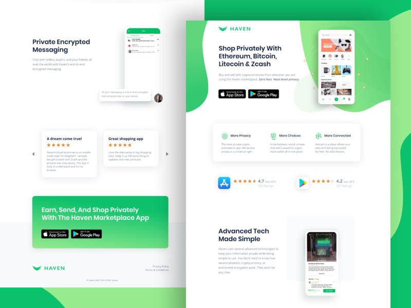 Haven App Landing Page 👾 conversion design website ppc marketing ux ui conversion rate optimization web design landing page ux design ui design