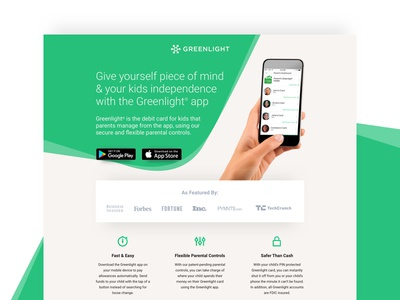 Greenlight | Landing Page mobile app conversion design conversion rate optimization graphic design landing page ui design ux design web design