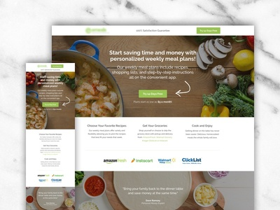 Meal Plan Landing Page conversion rate optimization meal plan food visual design website ui ux design web design landing page