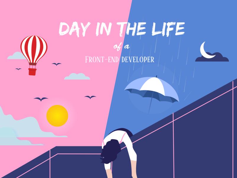 Day in the life of a Front-end developer stress fact developer frontend life rain sunny sad feeling night day shamin platform illustration cystack