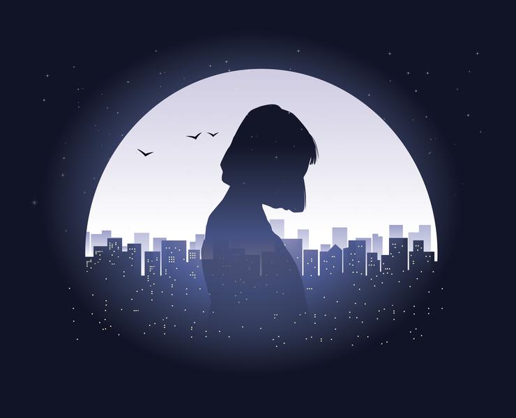 Loneliness night shamin illustration landscape city girl alone loneliness