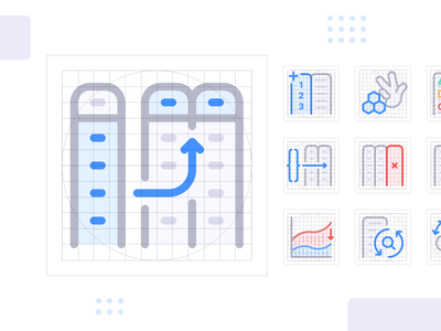 Anasen: Web-App Icons (Part 2/8) interface user guideline grid set study case processing analysis data website web app ui design icon