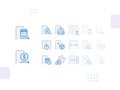 Anasen: Web-App Icons (Part 5/8) set study case processing analysis data website web app ui design icon