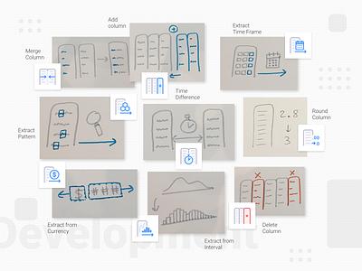 Anasen: Web-App Icons (Part 7/8) draft concept sketch set study case processing analysis data website web app ui design icon