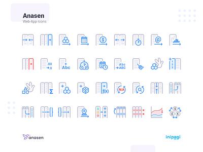 Anasen: Web-App Icons (Part 8+3) interface user set study case processing analysis data website web app ui design icon