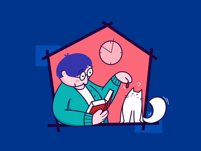 Stay Home 01: Playing with cat... coronavirus covid-19 cat book read woman person house stay at home stay home stayhome illustration fajr fitr