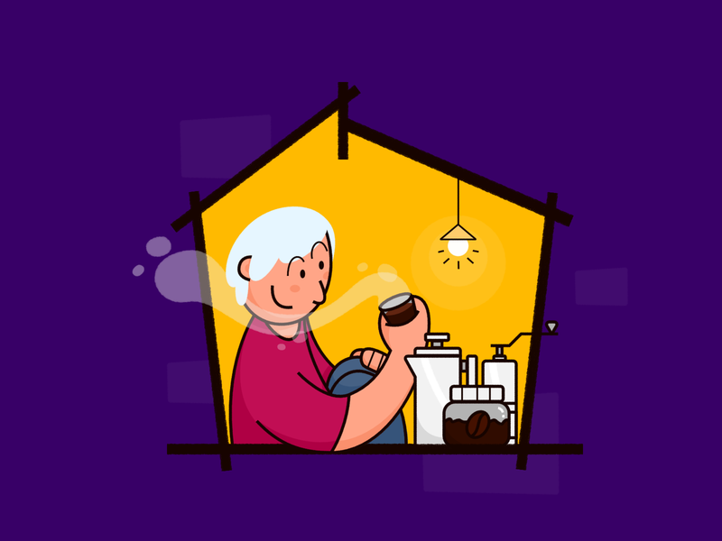 Stay Home 02: Making better coffee... french press grinder barista cafe coffee man house home covid-19 coronavirus stayhome stay home illustration fajr fitr