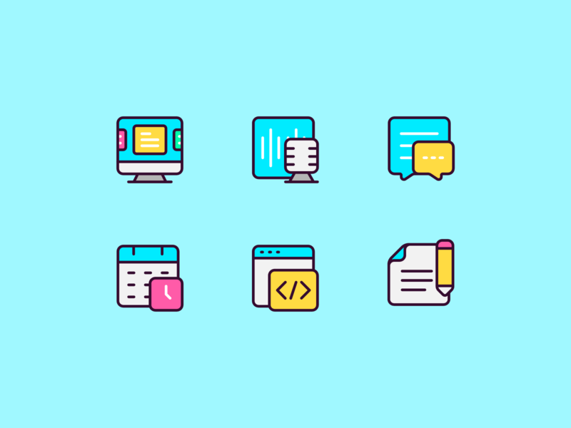 Digital Creative Icons copywriting writing programming code deadline calendar chat message podcast ui computer pictogram icon design icon creative digital