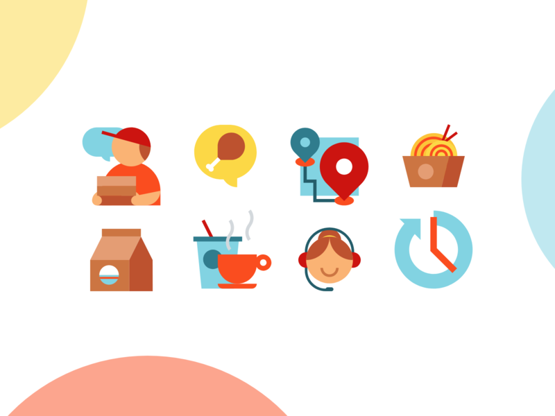 Food Delivery Icons ecommerce customer support customer service beverages noodle tracking culinary courier pictogram icon design icon service app delivery food