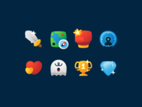 Game stuff icon concepts fajrfitr fajr fitr fajrul fitrianto item treasure diamond winner champion ghost horror heart shooting fighting adventure rpg icon design pictogram icon categories game