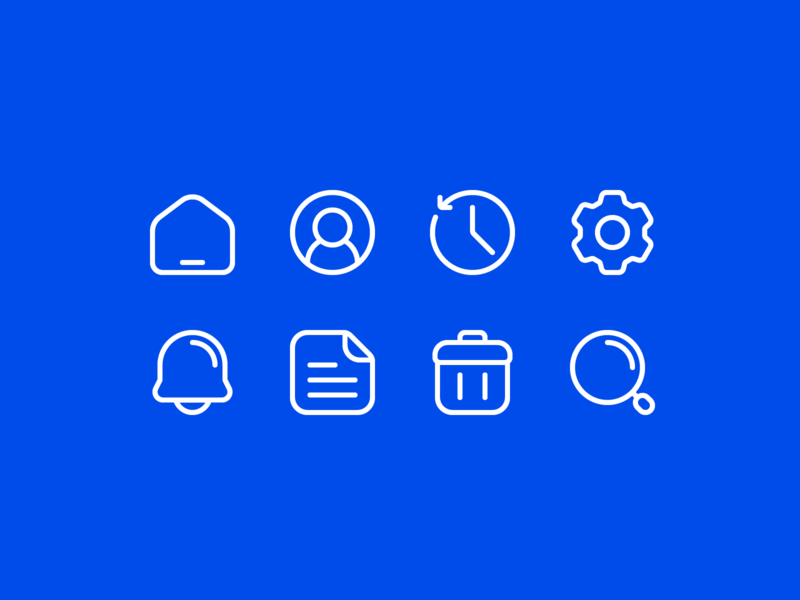 Basic app ui icons... mobile icon set search trash file notification setting history user homepage home website minimal app design ui iconography icon icon design
