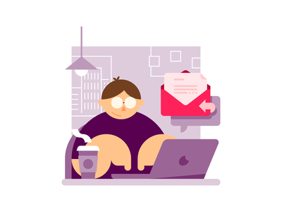 Typing a reply typing laptop vector flat email workspace office spot illustration illustration