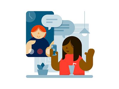 Video calling smartphone screen communication conversation chat video video call minimal flat spot illustration illustration