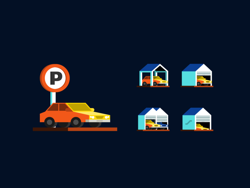Real estate: Parking area fajr fitr fajrfitr fajrul fitrianto spot illustration illustration flat carport car park parking lot parking area construction property building real estate pictogram spot icon iconography icon design icon