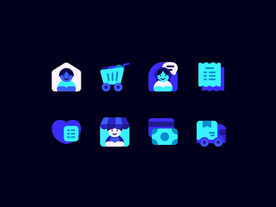 Online store customer support seller buyer shipping website app shopping ecommerce online store online shop fajrfitr fajr fitr fajrul fitrianto ui user interface pictogram iconography icon set icon design icon