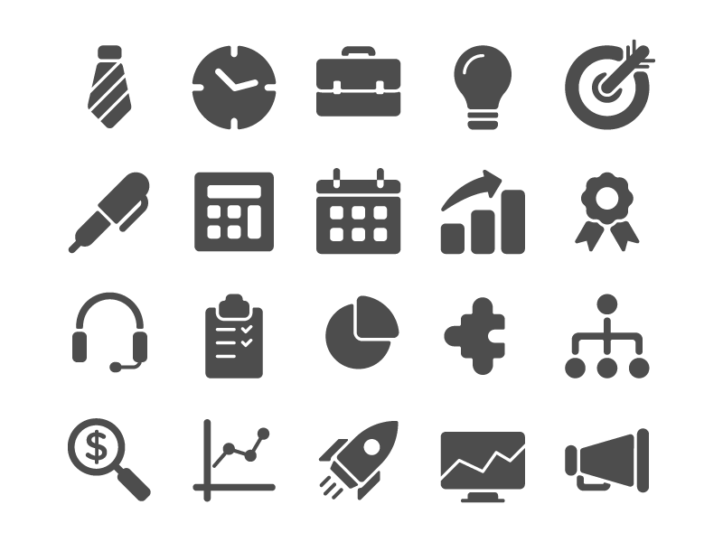 First Glyphs solid glyph business set icon