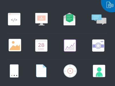 12 Vector Flat Icons- Free Download