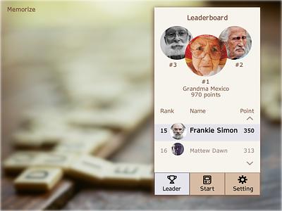 Memorize - Leaderboard brown game memory leaderboard age elderly mockup dailyui ux ui