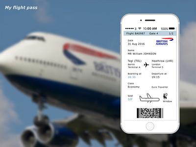 024 Boarding Pass My Flight Pass british airways mobile ios transportation plane flight boarding pass dailyui ux ui