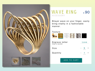 Customize Your Wave Ring customization 3d model ring engrave texture ecommerce accessory printing 3d ux ui dailyui