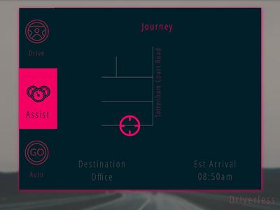 Driverless Car Interface design auto transport industrial design technology drive car ux ui dailyui