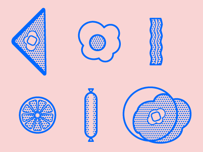 Breakfast icons icons breakfast tumblr illustration halftone verlag typography