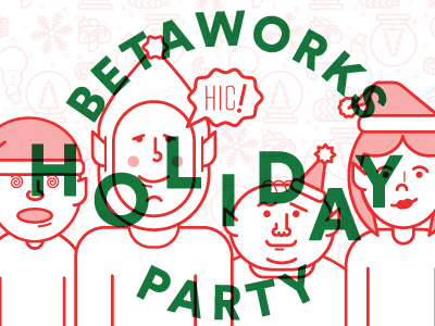 Betaworks Holiday Party elf christmas simple typography illustration holiday