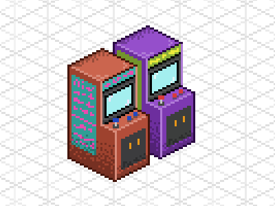 Pixel Art arcade pixel art isometric illustration arcade video games retro