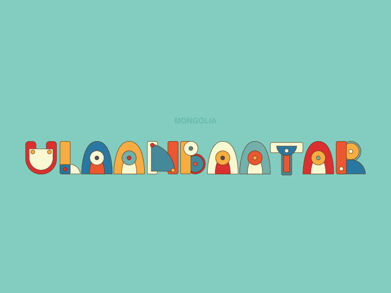 ULAANBAATAR cute vector colorful art mongolia typography typo city