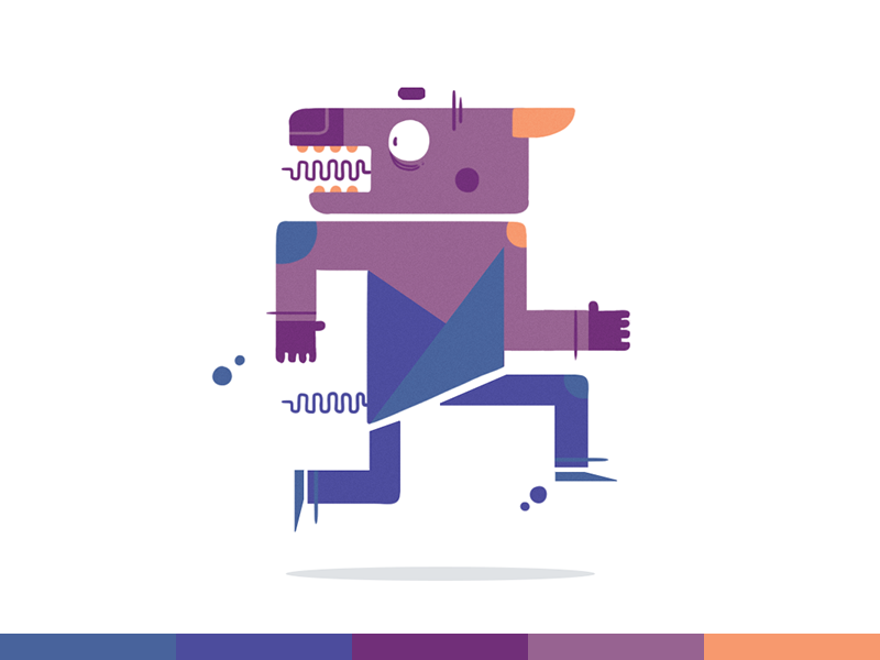 100things   058 design flat geometric monster challenge ps photoshop cartoon character design illustration colors