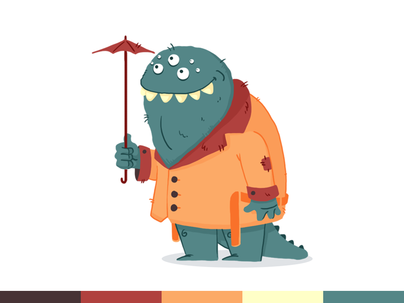 100things | 079 colors illustration character design cartoon photoshop ps challenge monster flat design