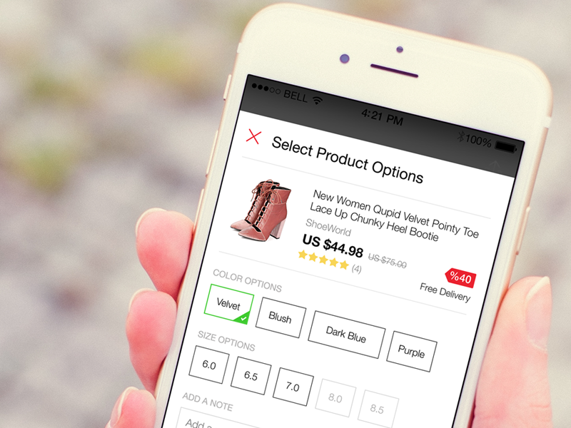 Sku Selection for Product user interface android ios product detail app mobile ui product